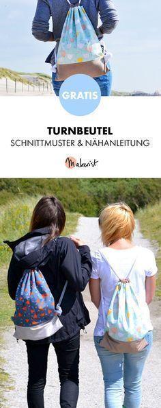 Gratis Anleitung: Turnbeutel nähen – Schnittmuster und Nähanleitung via Makeri… – Martina Keller
