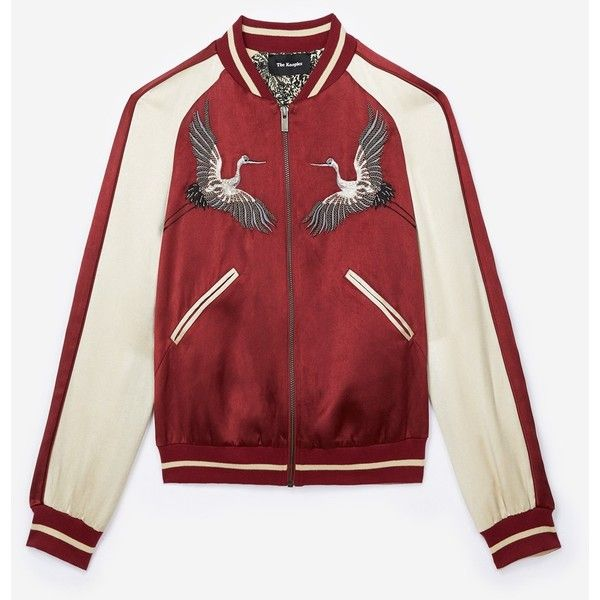 Burgundy bomber jacket with floral embroidery (877.000 COP) ❤ liked on Polyvore featuring outerwear, jackets, striped jacket, red satin jacket, bomber jackets, zip bomber jacket and red zipper jacket