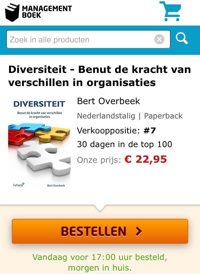 Top het boek 'Diversiteit, benut de kracht van verschillen in organisaties' van Bert Overbeek stijgt verder in de Bestsellerlijst van Managementboek, en staat vandaag op verkooppositie 7. #diversiteit #bertoverbeek #mgboeknl #futurouitgevers