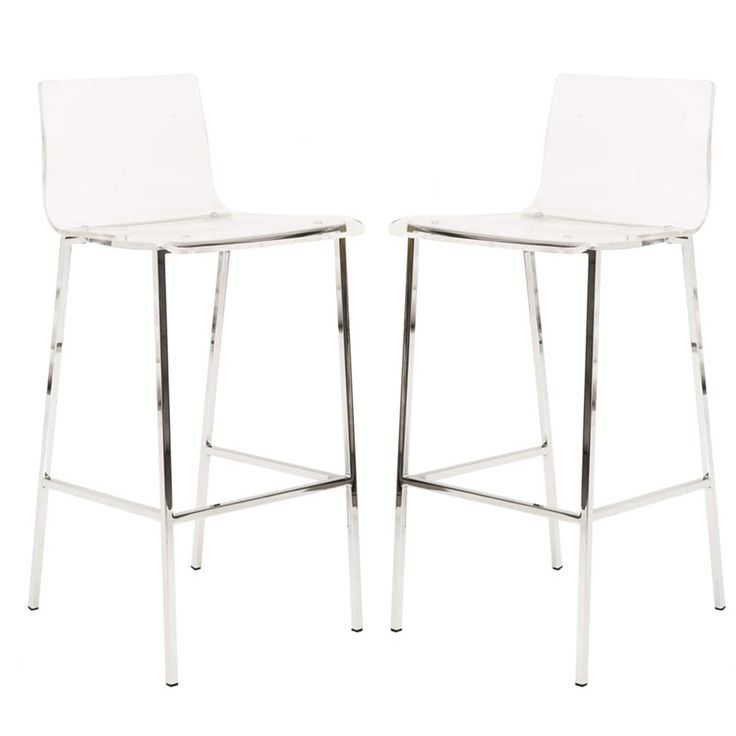 Pure Decor Clear Acrylic Counter Stool - Set of 2 (Clear Finish) (Synthetic)
