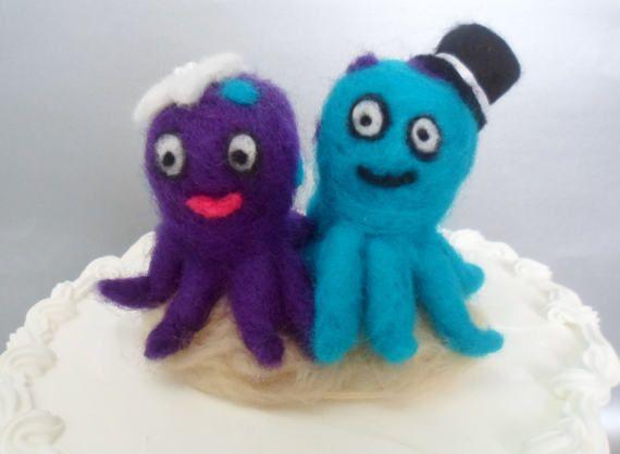 Octopus Wedding Cake Topper Needle Felted