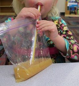 Eating like the astronauts! Such a simple thing! The kids would love this during space week;now, to find some tang:)