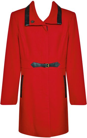 Liz Collection Coat With Pleather Trim $269.95 AUD  Longline melton coat with pleather trim on collar, buckle, pocket and sleeves, polyester lining, concealled placket 50% Wool 50% Viscose Dry Clean Only  Item Code: 046534