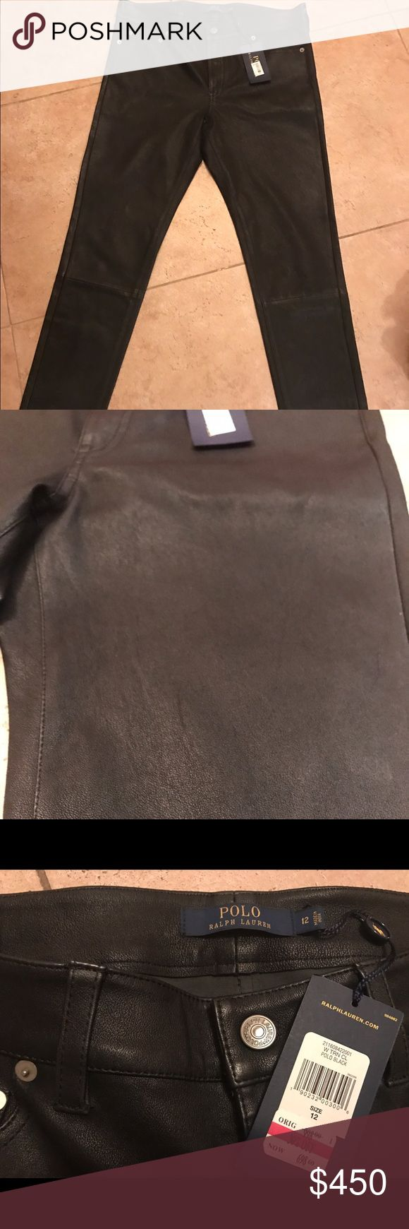 Reall leather polo Ralph Lauren pants size 12 Brand new never worn leather pants are the perfect gift for someone special. Tags are still on pants. Retail price $998. On tag you will see I purchased them on sale for 698. Polo by Ralph Lauren Pants Straight Leg