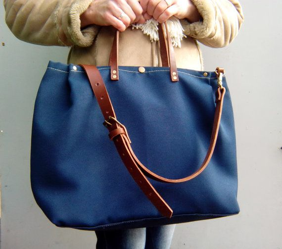 Waxed canvas bag with leather handles, Waxed canvas tote bag, Shoulder bag closure on the buttons, navy blue *ready to ship*