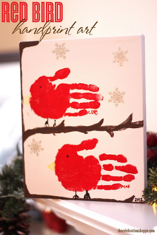 kid craft: red bird handprint art perfect for a Mother's Day gift #handprint #Mother'sDay #kidcraft | thecelebrationshoppe.com
