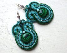 Soutache earrings Green-Turquoise Malachite Elegant Ethno Boho Glamour!