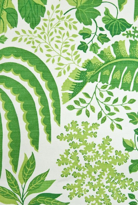 Rainforest Fabric Large weave white cotton fabric with jungle leaf design in rich green. Suitable for Curtains and General Domestic Upholstery.