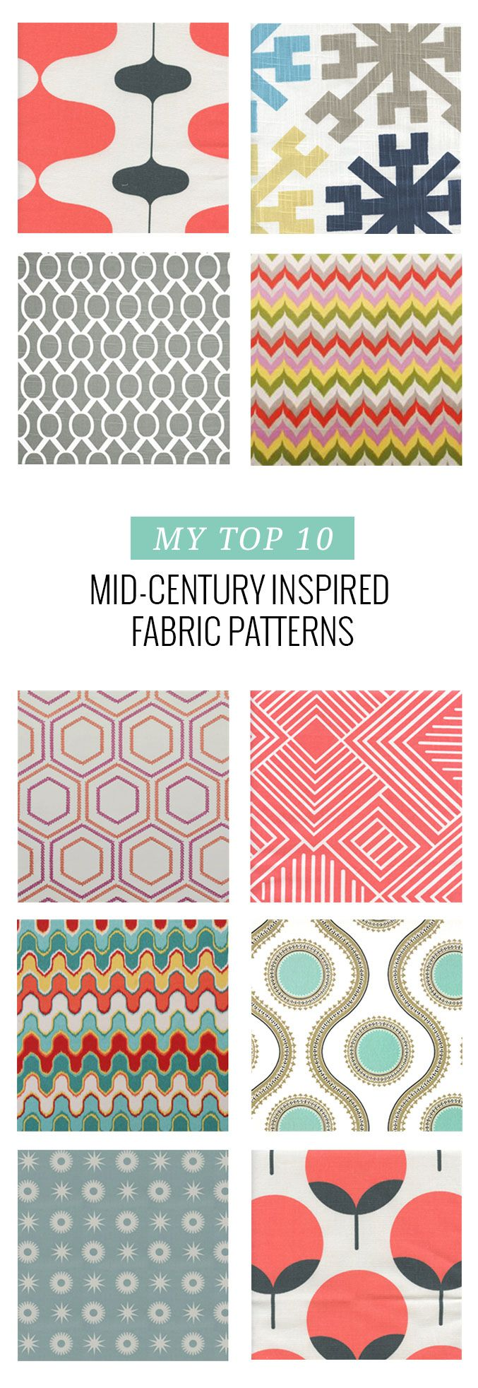 10 Mid-Century Inspired Fabric Patterns | dreamgreendiy.com + @buyfabrics