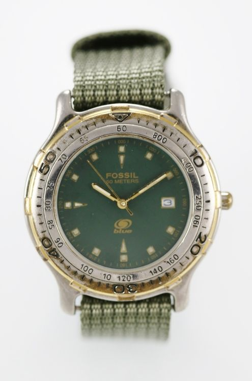 Fossil Blue Watch Men Date Nylon Green Stainless Silver Gold Water Resist Quartz