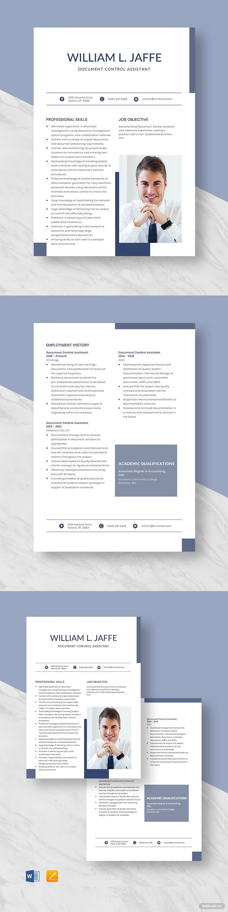 Free document control assistant resume template in 2020