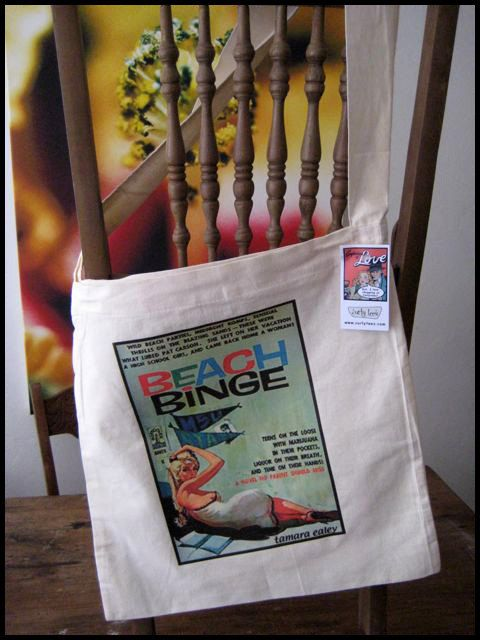 Retro print  Beach Binge  light weight cotton tote by Curlytees