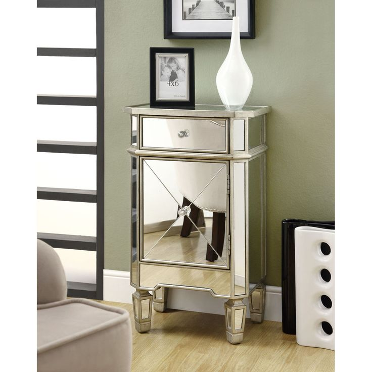 This accent cabinet features a unique mirrored surface  A drawer  a cabinet  door and. 123 best mirror furn images on Pinterest   Hollywood regency