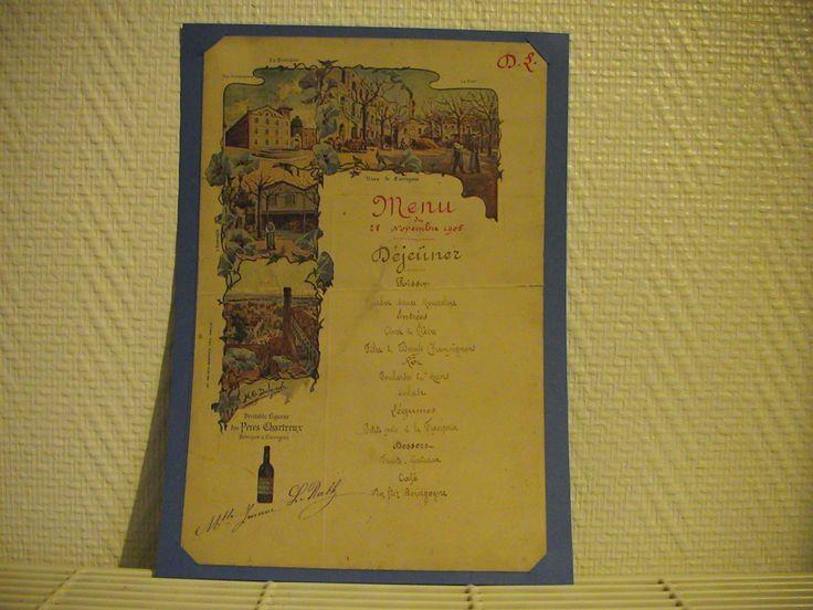 Ce menu daté de 1905 illustre la distillerie de Tarragone.