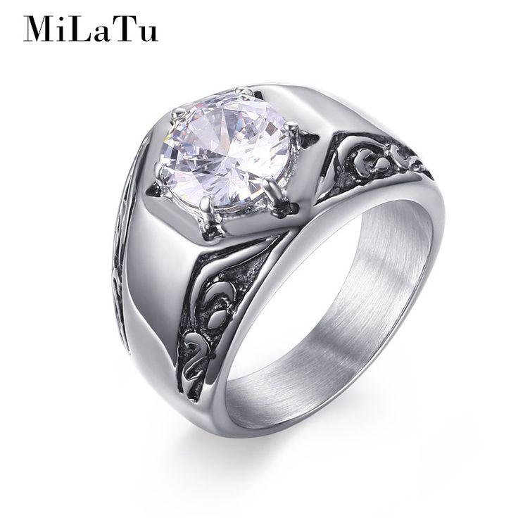 MiLaTu Fashion Wedding Bands For Men Stainless Steel High Polished Big Cubic Zirconia Ring Vintage Men Jewelry Bijoux R385G