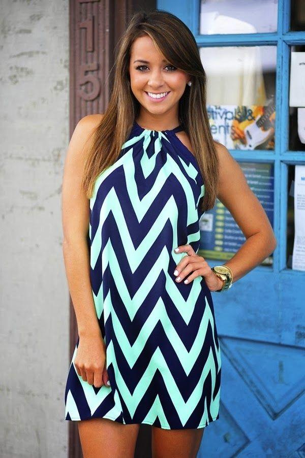 Shop Hopes Navy and Mint Chevron Dress