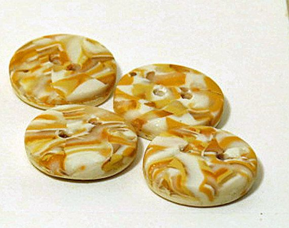 Stone buttons Round polymer clay set of 4 by QuerkyBitsbyKerry