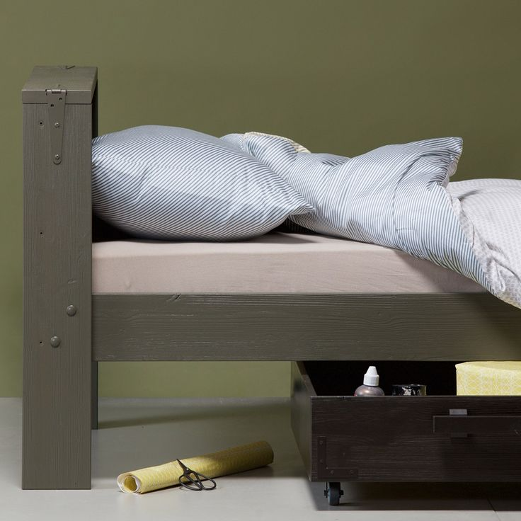 DERK SINGLE BED with Storage Drawer | Industrial Kids Furniture | Green Single Bed | Army Green