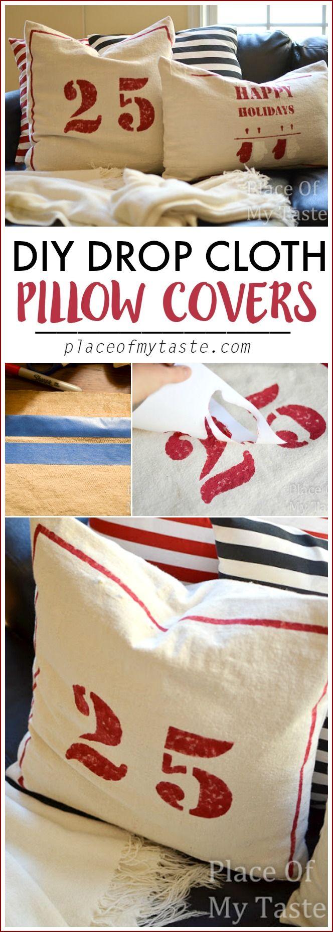 DIY DROP CLOTH PILLOW COVERS. Fun Christmas sewing tutorial!