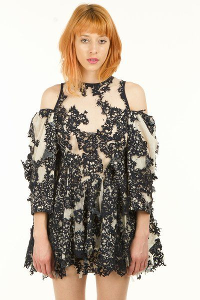 Hexa By Kuho Cut-Out Shoulders Long-Sleeve Dress
