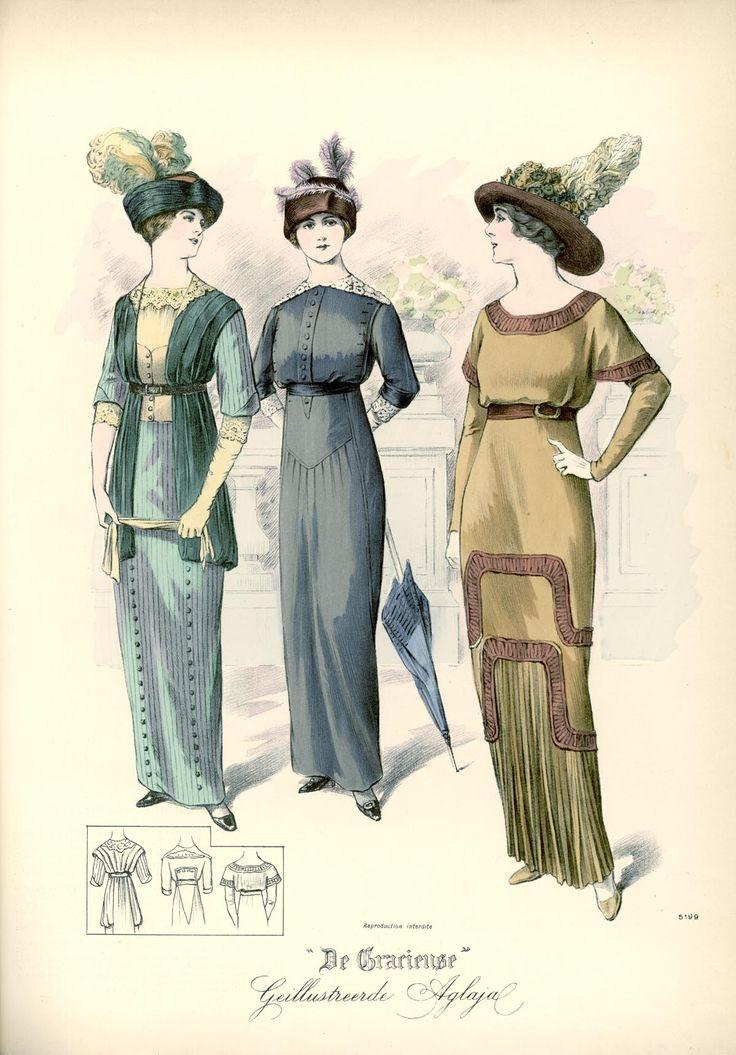 [De Gracieuse] No. 1. Japon van gestreept Elzasch linnen. No. 2. Eenvoudige japon voor jonge meisjes van effen linnen. No. 3. Japon van fijn zijden linnen (July 1913)