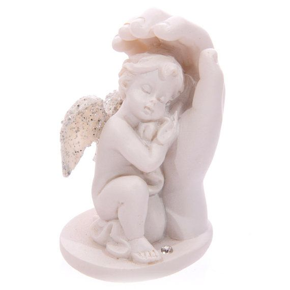 2x Small Ornaments Glitter Wings Cherub and Hand by getgiftideas