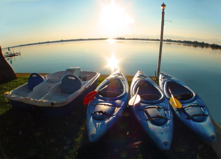 Kayaks and pedal boat