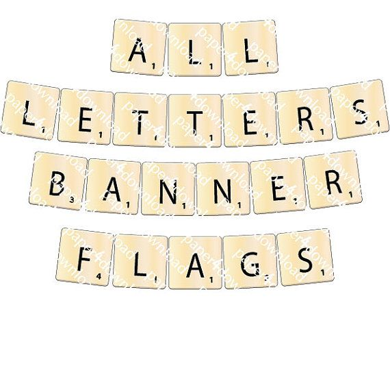 Word Game Tiles  Banner 7.5x7.5 Square Flag  by paper4download