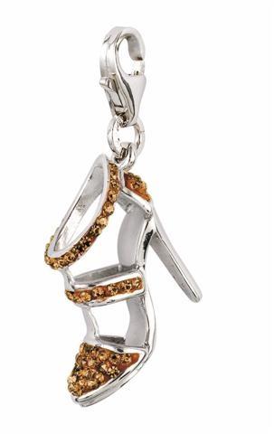Amore & Baci sparkling silver charm - gold high heel shoe