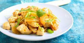 Recette de Sauté de poulet Croq'Kilos à l'ananas et au yaourt. Facile et rapide à réaliser, goûteuse et diététique.
