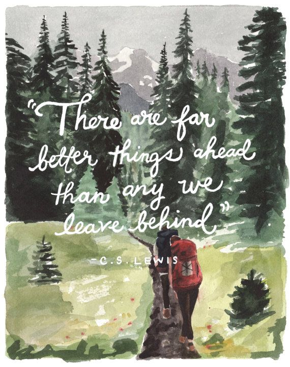 hikers print  >>  5x7 in >>  c.s. lewis quote >> original illustration  >>  giclee print  >>  watercolor painting