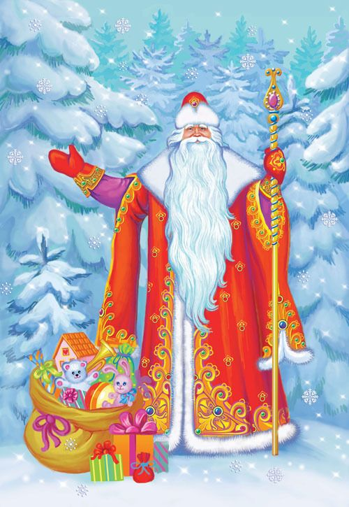Дед мороз открытка рисунок