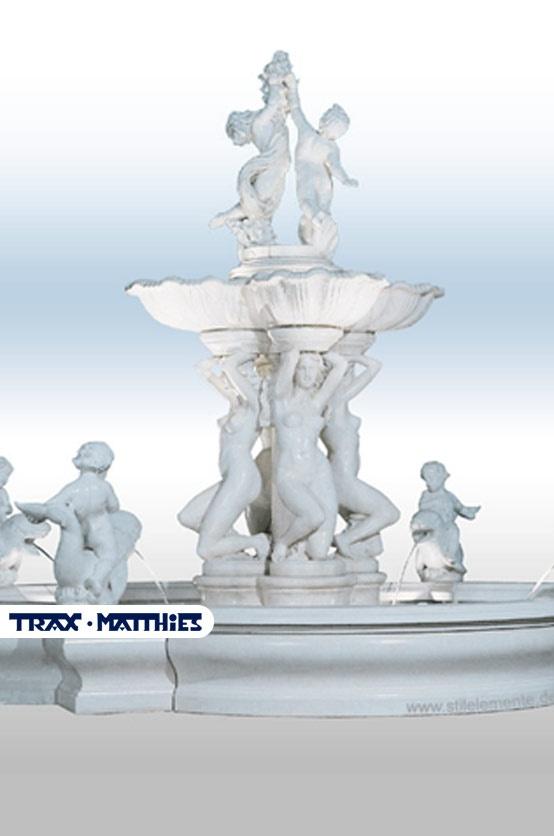 Springbrunnen mit Figuren aus  Betonwerkstein  #Garten #Brunnen #Springbrunnen