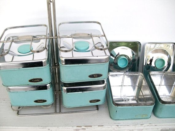 Set of Six Vintage Aqua and Chrome Kitchen Canisters and Metal Storage Rack Lincoln Beauty Ware found at jacklom3 on Etsy.