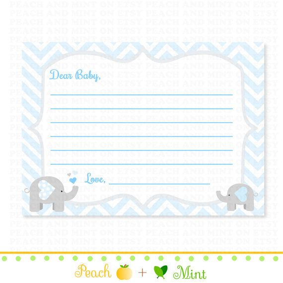 Chevron Boy Elephant Baby Shower Wishes For Baby   Baby Shower Advice Cards    Printable Baby