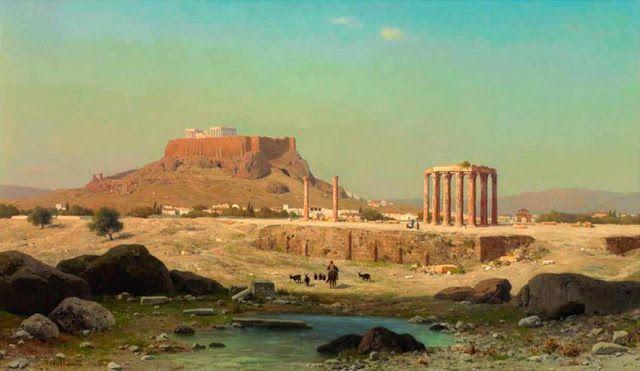 Michael Haubtmann.1873.Η Ακρόπολις από τις στήλες του Ολυμπίου Διός ,ιδιωτική συλλογή.