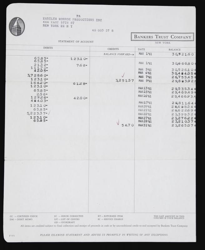 A Marilyn Monroe Productions Inc bank statement from Bankers - bank statements