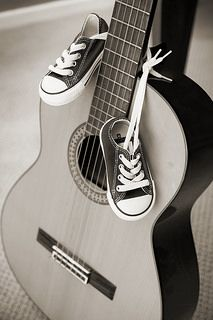 Baby shoes guitar sepia   Flickr - Photo Sharing! #pregnant #baby #guitar