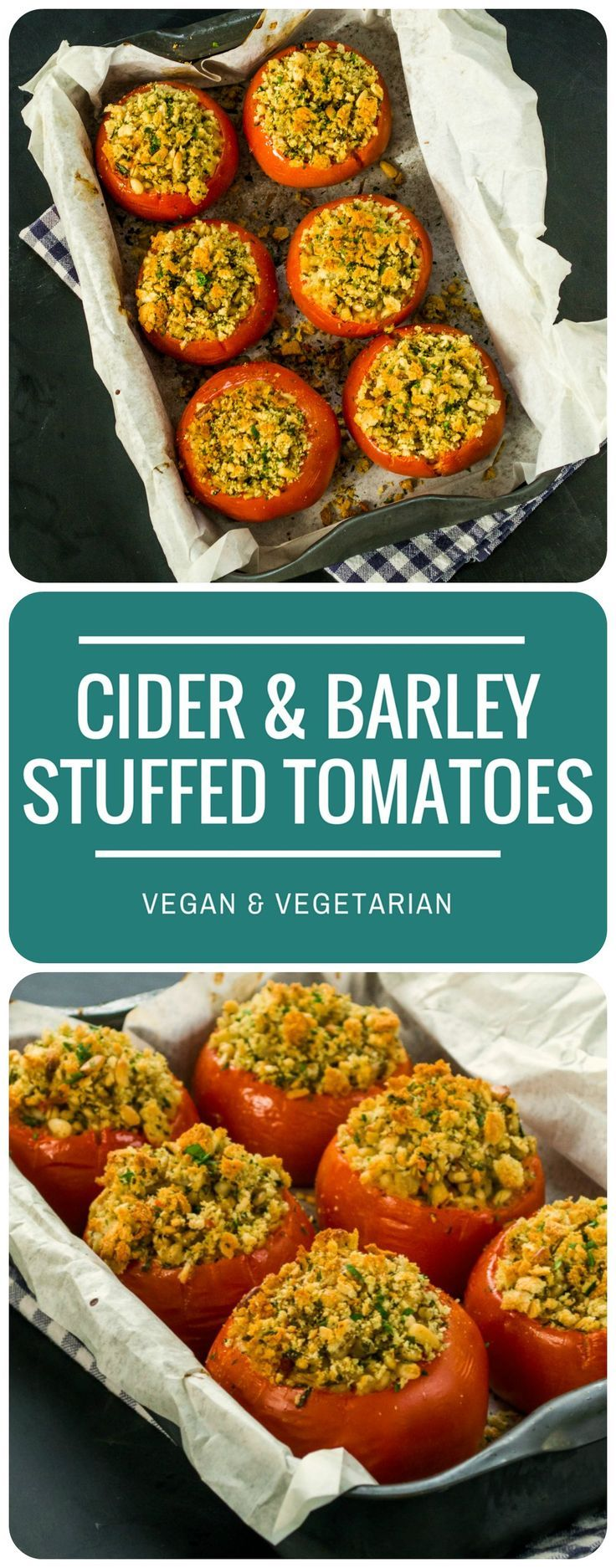 Cider & Barley Stuffed Tomatoes - huge beef tomatoes with a filling of plump pearl barley cooked in dry cider, with a crunchy parsley and pine nut crust.  Would make a lovely vegan or vegetarian option for Sunday lunch or roast dinner!