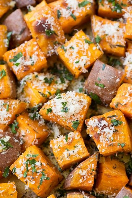 Garlic-Herb+Roasted+Sweet+Potatoes+with+Parmesan- I can do these with clarified butter and no Parmesan!