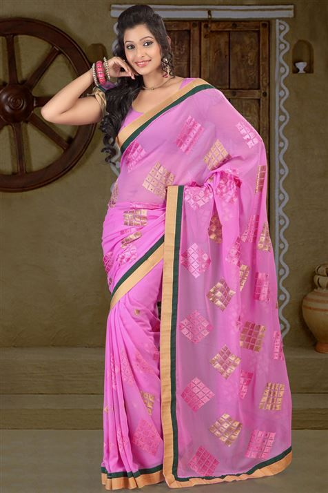 Graceful Chiffon Pink party wear saree