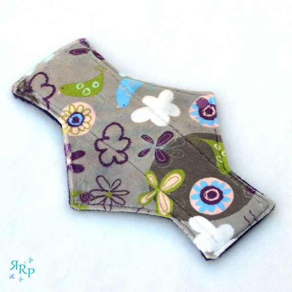 "9"" Light Day Fly Away Butterflies Silver Minky backed with premium WindPro Fleece Cloth Menstrual Pad, Mama Cloth, Cloth Pad, Reusable Pad"