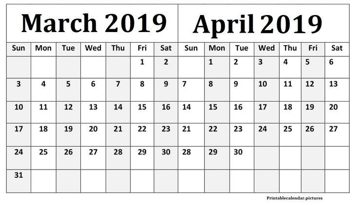 march april 2019 calendar a4