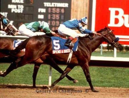 Spend A Buck, the Kentucky Derby winner, winning the 1985 Jersey Derby over Creme Fraiche, the Belmont Stakes winner.