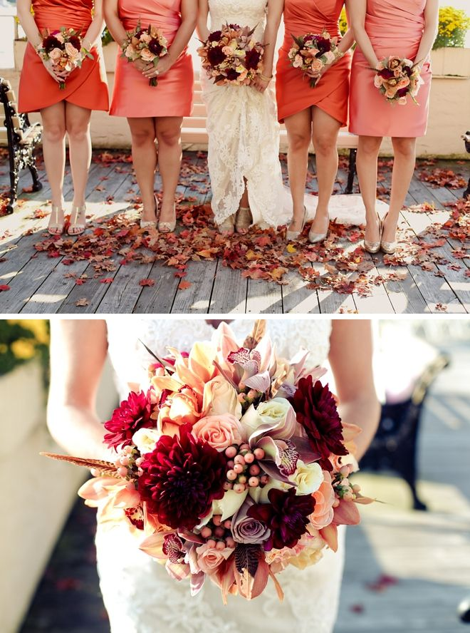 Pinks and Crimson Reds Fall Wedding Bouquets and Bridesmaids Inspiration // Photography: Luna Blue Studio // via @Borrowed & Bleu