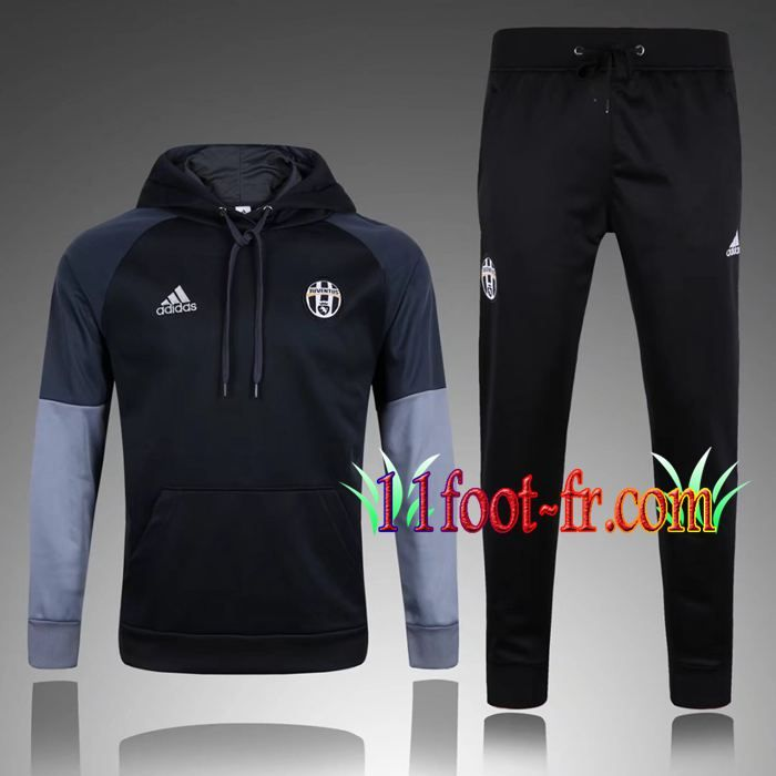 e0308a1aec3e3 Survetement Foot de Sweat a Capuche Juventus Noir Gris 2017 2018 ...
