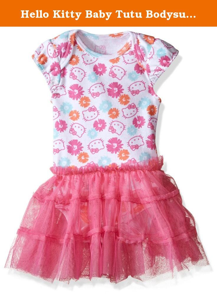 Hello Kitty Baby Tutu Bodysuit with Flower Print, Carmine Rose, 6-9 Months. Hello Kitty tutu bodysuit with flower print.