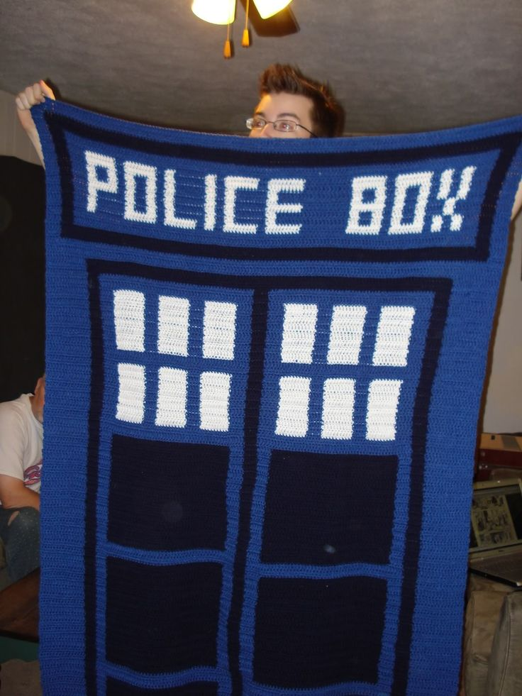 Tardis Blanket Knitting Pattern : saku_teiki: TARDIS Blanket...I made a graph pattern for a friend. All you nee...