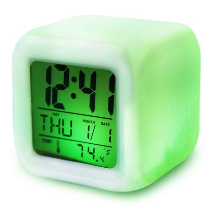 Cute 7 colour backlight modern digital alarm clock desk