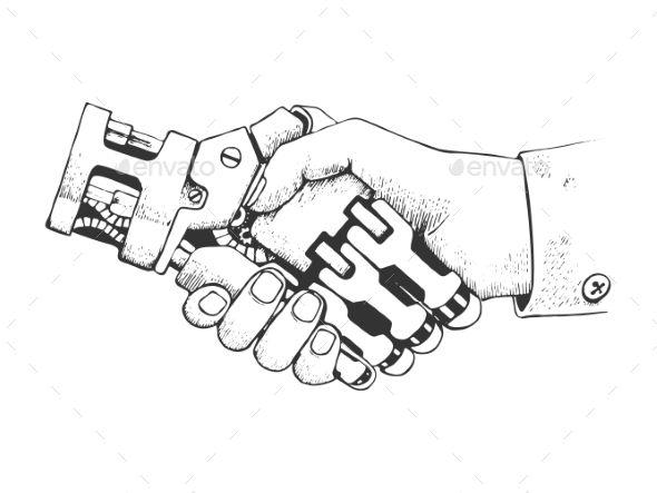 Human And Robot Hands Shake Vector Hand Drawn Robot Hand How To Draw Hands Vector Hand
